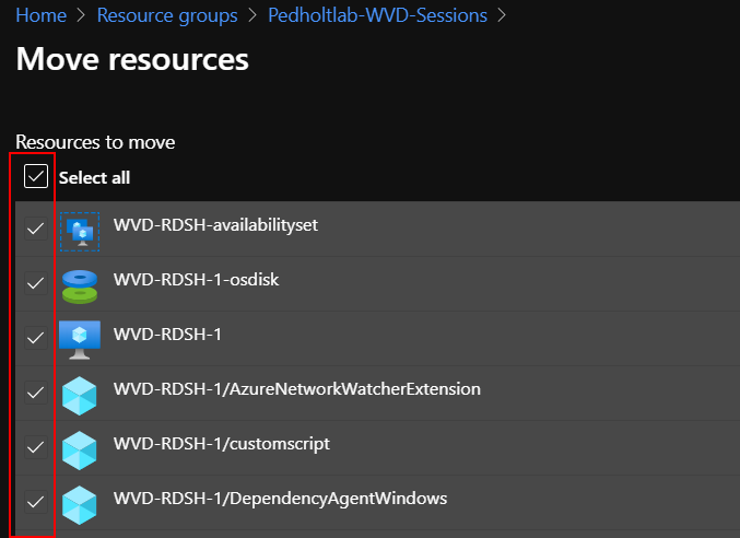 select resource to migrate